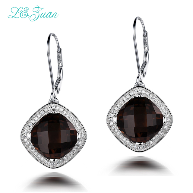 I Zuan 7 94ct Natural Smoky Quartz Drop Earrings 925 Sterling Silver Luxury Earring Brown Stone Checkerboard