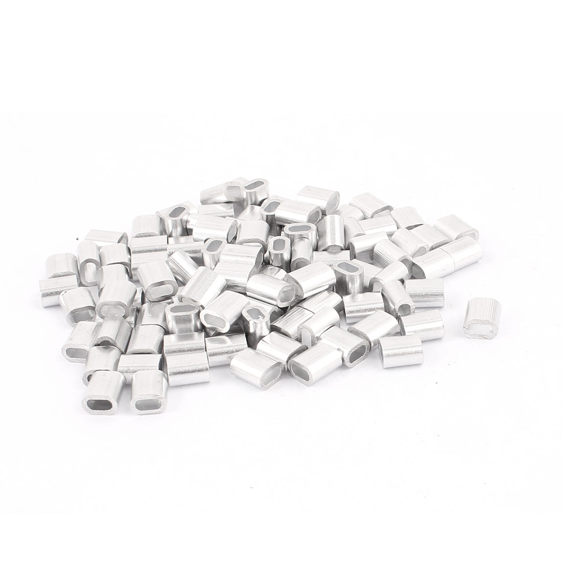 UXCELL 100 Pcs 2mm 5/64 Steel Wire Rope Aluminum Ferrules Sleeves Silver ToneUXCELL 100 Pcs 2mm 5/64 Steel Wire Rope Aluminum Ferrules Sleeves Silver Tone