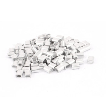 UXCELL 100 Pcs 2mm 5/64 Steel Wire Rope Aluminum Ferrules Sleeves Silver Tone