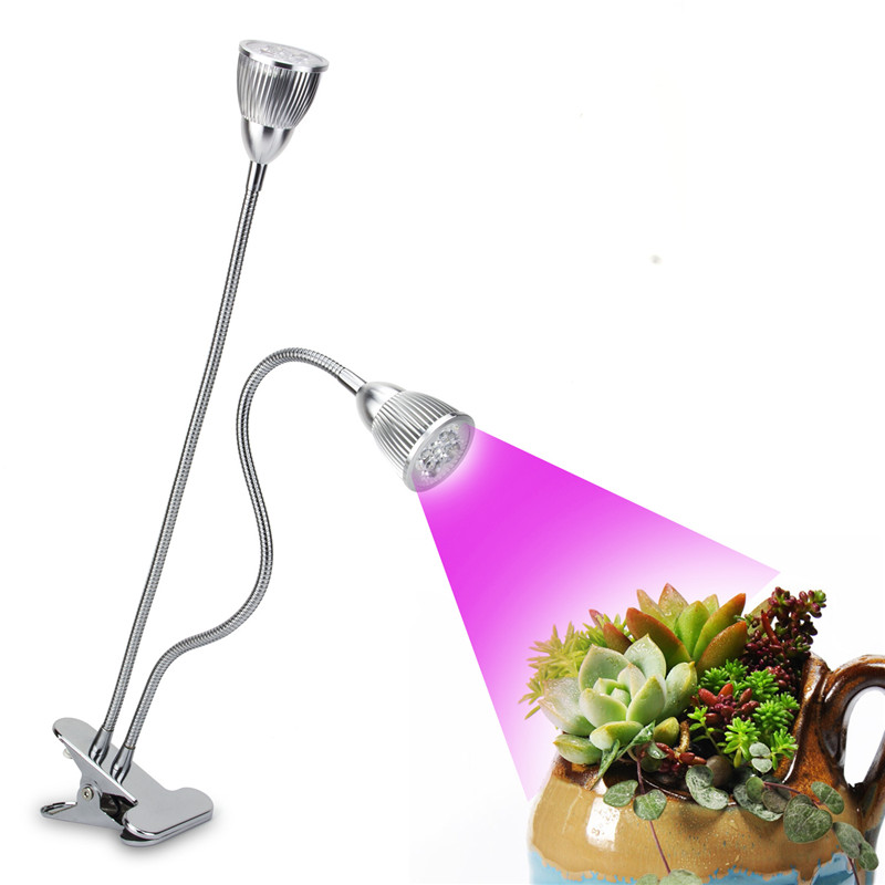 Dual Head LED Grow Lamp Premium 10W Desk Clip LED Plant Lighting With 360 Swivel Flexible Gooseneck For Indoor Home Office Plant