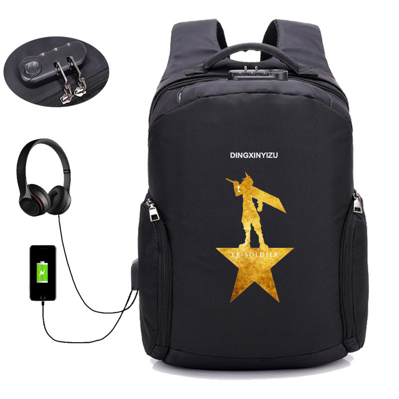Game Final Fantasy backpack USB Charge Anti Theft Notebook Backpack student book School Bags Teenage Male Laptop travel package in Backpacks from Luggage Bags
