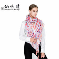 XIANXIANQING New Women Foulard Scarf Geometric Printing Scarves For Womens Lady Pink Bandanas Femme Vacation Silk