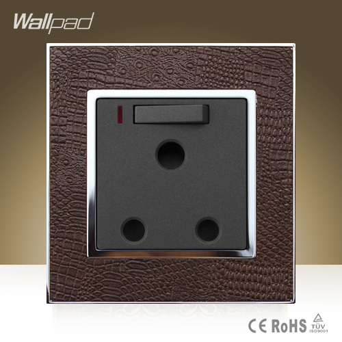 Wallpad Hotel15A Switched Socket with LED Goats Brown Leather UK South Africa 15amp Module Wall Socket with Neon Free Shipping
