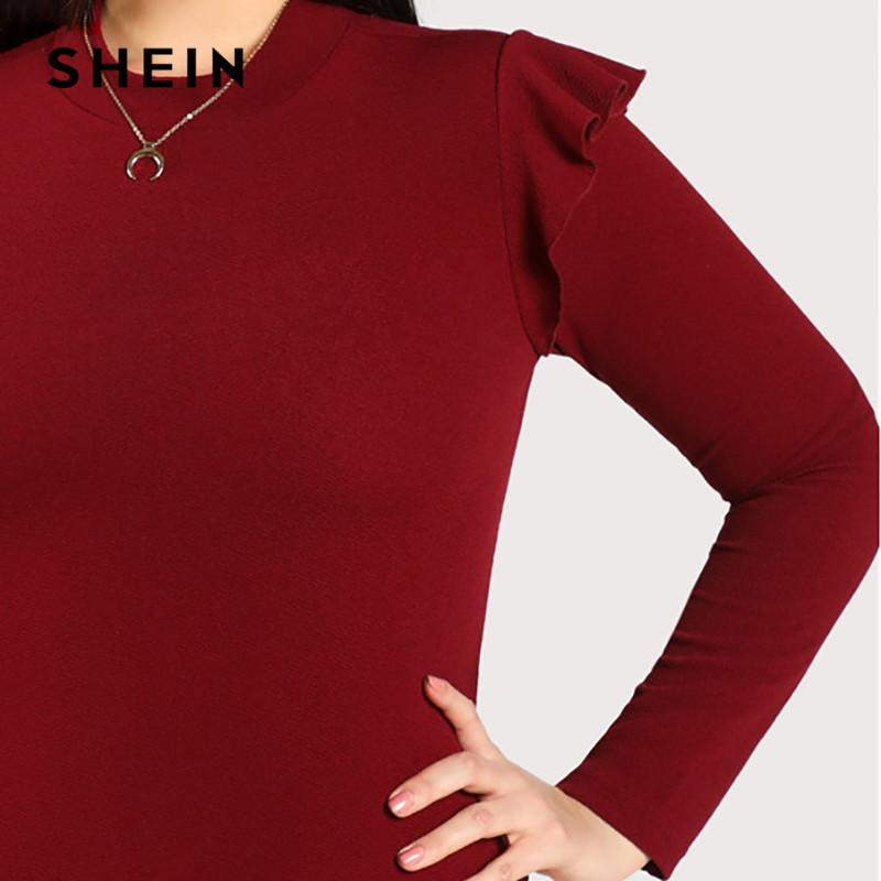 SHEIN Burgundy Long Sleeve Ruffle Casual Women Plus Size Bodysuit 2018 Autumn  Mock Neck Frill Shoulder Stretchy Solid Bodysuits-in Bodysuits from Women s  ... 3fcef705a