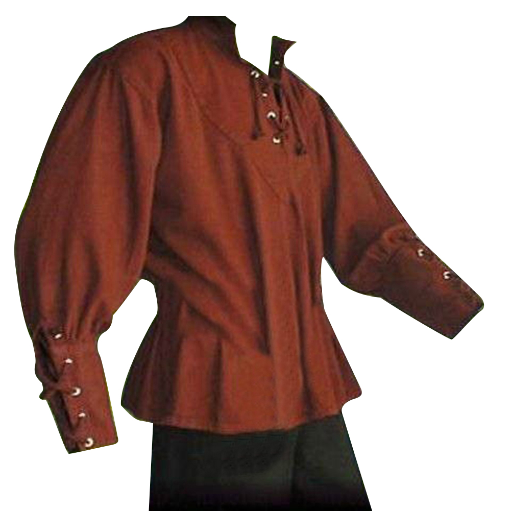Medieval Men Shirt Solid Color Bandage Stand Up Collar Knight Top