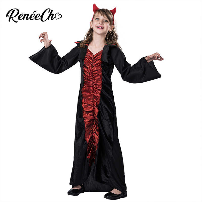 8ad39acb5 Kids Costume Child Royal Vampire Costume halloween costume for girls black  long dress witch devil cosplay