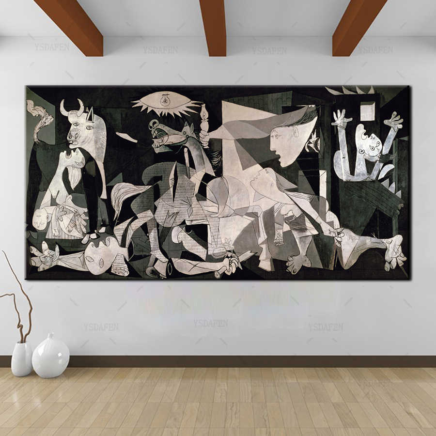 YSDAFEN Spain France Picasso Classic Guernica 1937 Germany Figure Canvas Art Print Painting Poster, Wall Picturer