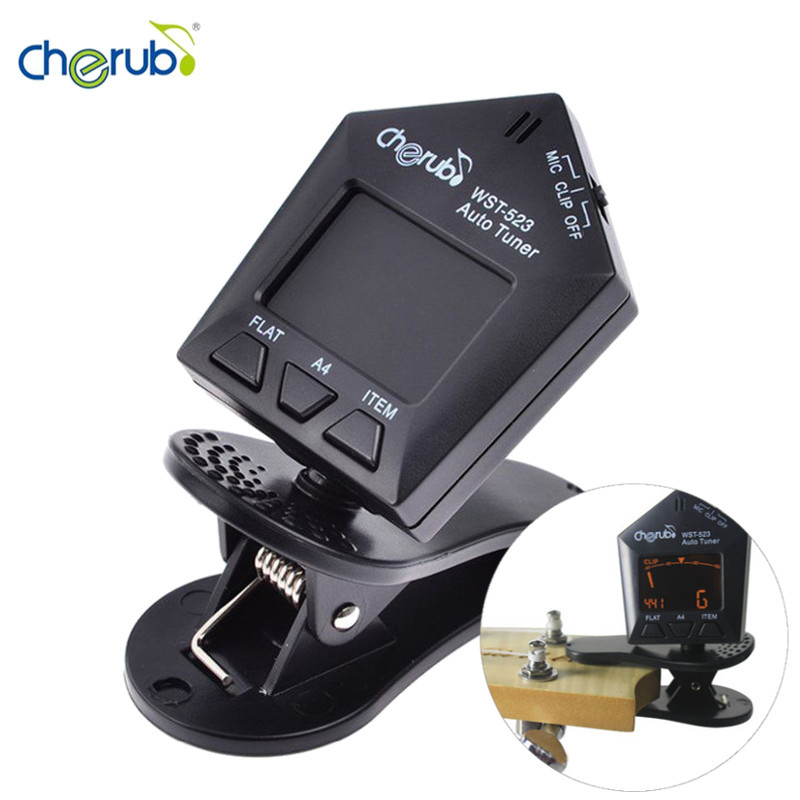 Cherub WST-523 LCD Display Electric Bass Violin Ukulele Clip Tuner Automatic Musical Instruments Guitarra Part Accessories