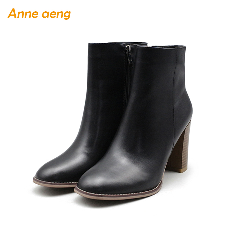 Anne Aeng Supper High Heel women's shoes Autumn winter boots Ankle Hot Free shipping100%Genuine Leather Zip Full Grain Round Toe girls and ladies favorite white roller skates with full grain genuine leather dual lane roller skate shoes for adult skating