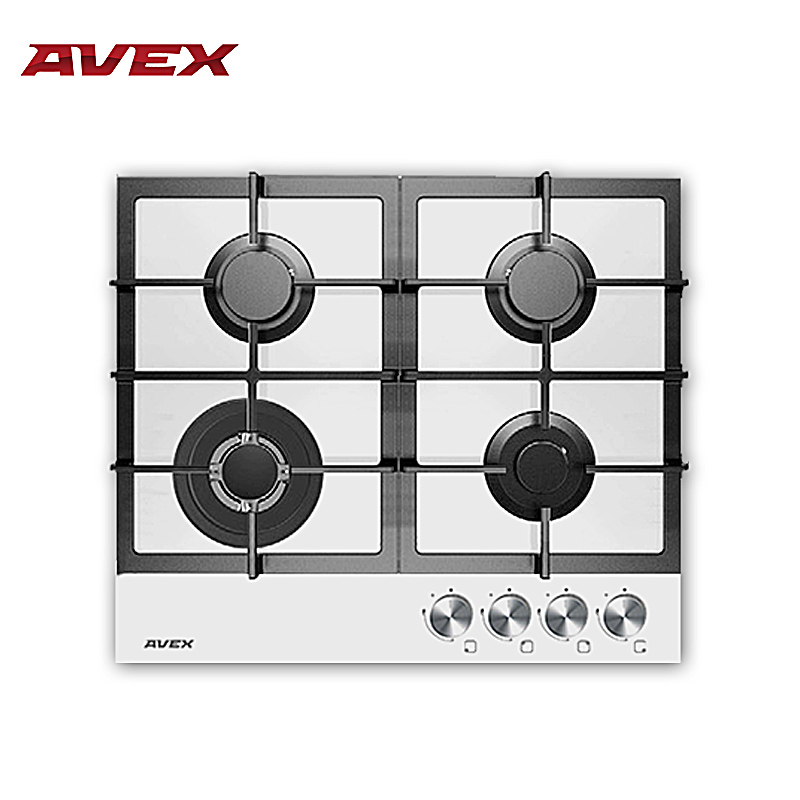 Built in Hob gas on glass with cast iron grilles AVEX HM 6044 W with FFD with 10