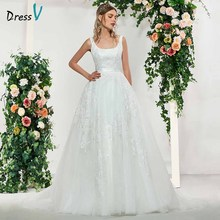 Dressv elegant appliques square neck sleeveless lace up ball gown wedding dress floor length simple bridal gowns