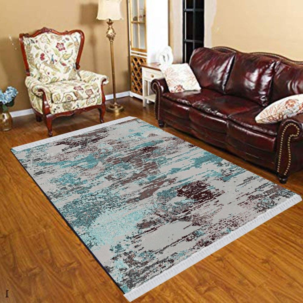 Else Blue Black Gray Abstract Watercolor Vintage 3d Print Anti Slip Kilim Washable Decorative Kilim Tassel Rug Bohemian Carpet