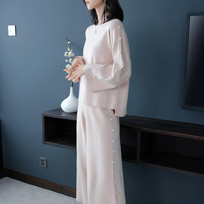 Осень и зима темперамент Для женщин отель Стиль свободные широкие штаны костюм из двух предметов благородные элегантные вязать Женская оде...