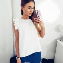 Women Blouse 2019 Summer New Fashion Sexy O Neck Sleeveless Ruffles Shirts Casual Slim Solid Blusas