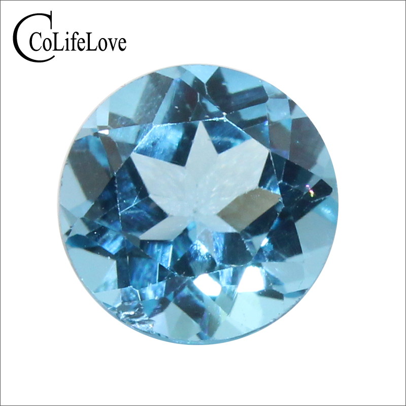 Dazzling round brilliant cut natural topaz loose gemstone 8 mm * 8 mm 2 ct topaz loose stone for ring GIC certificate original cutter 05075 8 mm dia cut