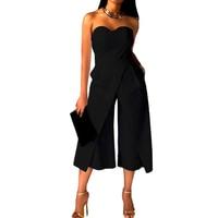 Rompers סרבלי סטרפלס אלגנטי 2017 כתף נשים כבויה Loose מקרית ארוכים מכנסיים מכנסיים רגל רחב בציר Playsuits סרבל