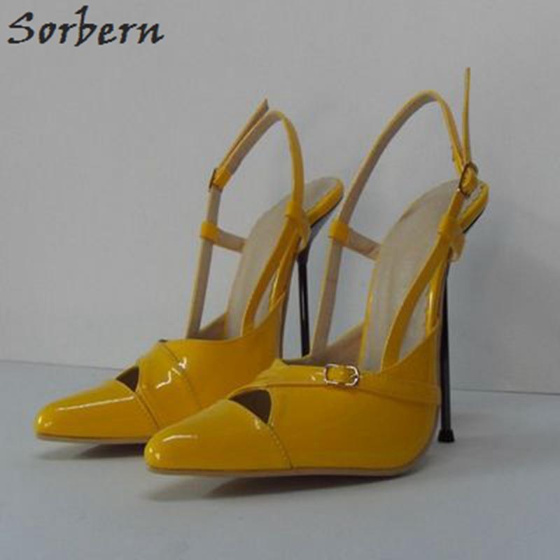 Sorbern Fashion Women Pumps Patent Leather Plus Size Ladies Party Pumps Buckle Strap 14cm Metal High Heels Buckle Strap цена
