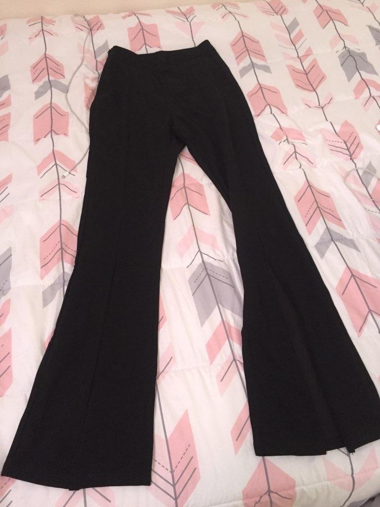 Black Split Solid Leggings Workwear Elegant Plain Mid Waist Casual Leggings Women Fitness Spring Autumn Pants photo review