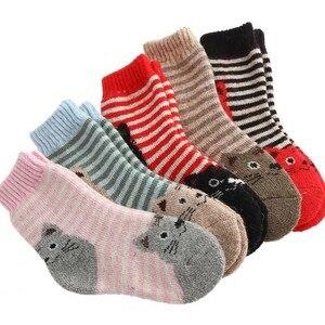 Image 2 - Calcetines de algodón para niños, calcetín con gato Animal, lana gruesa, a rayas, cortos, creativos, suaves y cálidos, para invierno, 2019