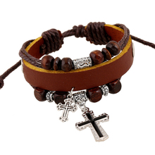 Vintage The Cross Pendant Multilayer Beads Faux Leather Braid Bracelet Bangle