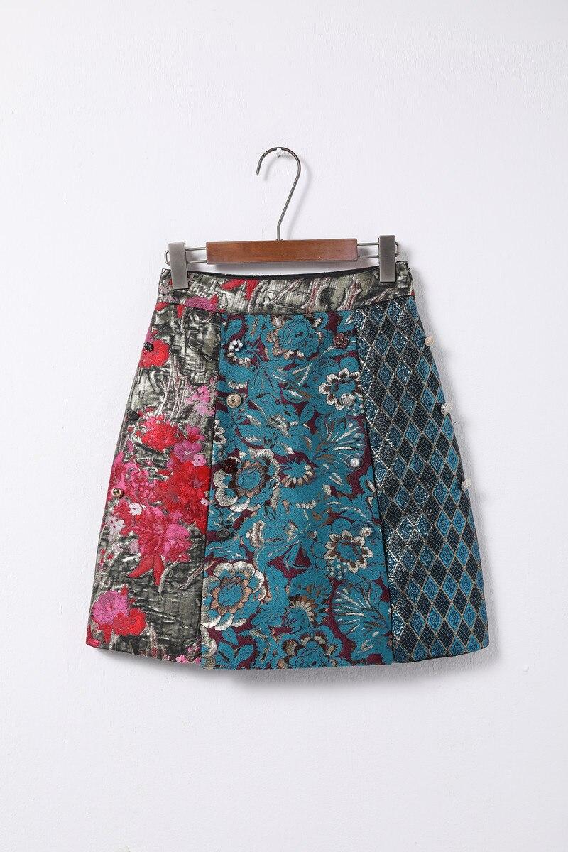 Livraison gratuite 2018 automne Jacquard Patchwork boutons jupes femmes Designer célébrité Style Streetwear Mini jupe 91815