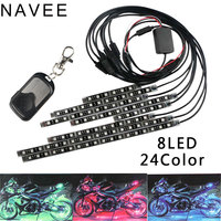 8pc Universal 24Color Light Strip RGB LED Glow Tail Light Motorcycle Remote Control LED Atmosphere Light Strip Accent Neon Lamp
