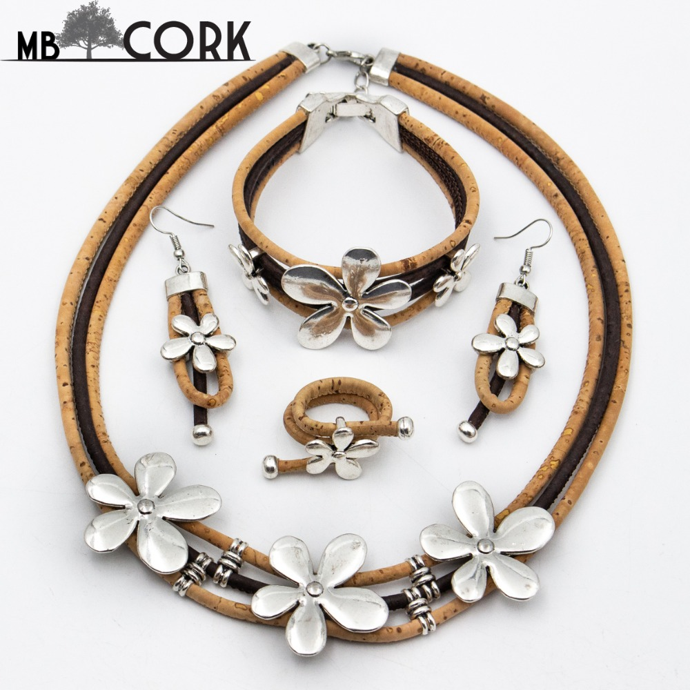 natural cork, Ring +bracelet+ earrings + necklace original jewerly Environment-friendly materials SET-694 solar shaking little duck environment friendly ornamentation
