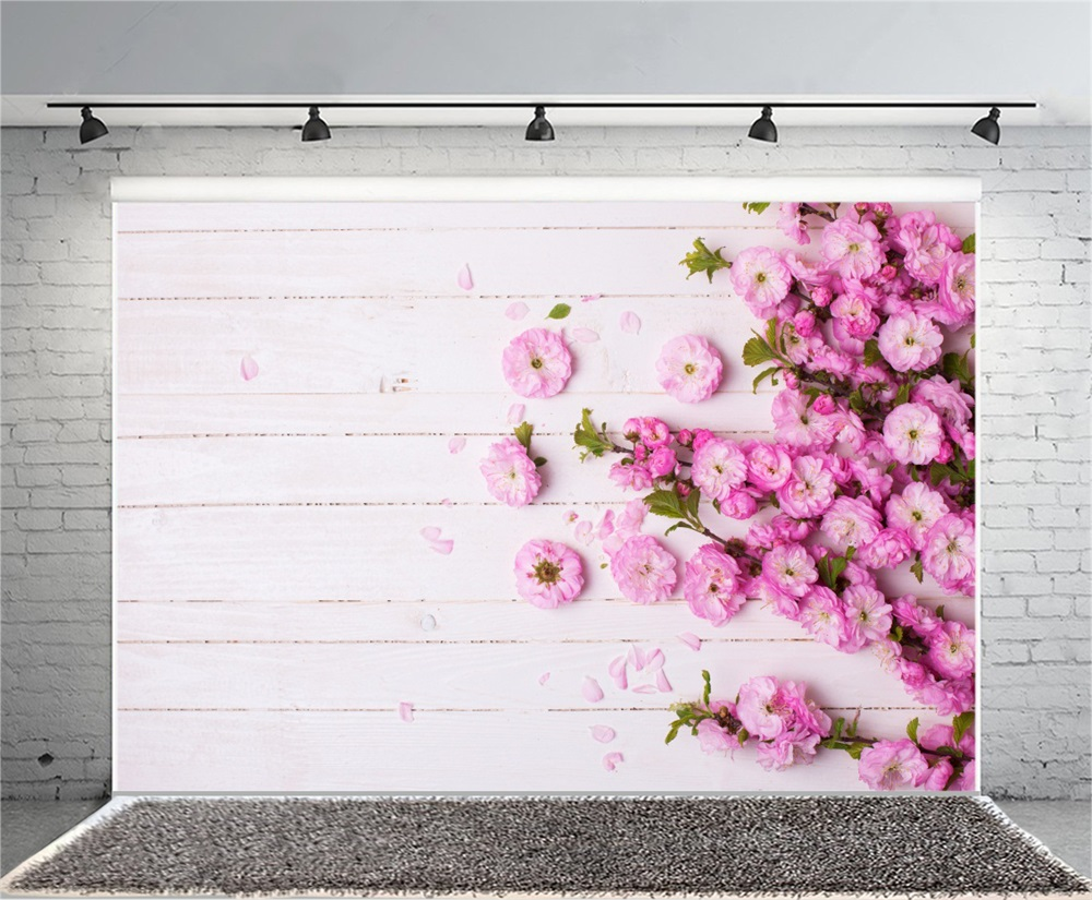 Laeacco Spring Flowers Wooden Boards Baby Children Photography