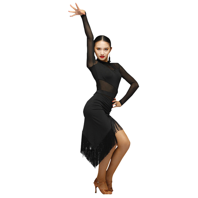 02d331bfffeb Fashion tassel Gauze Long-sleeve Irregular Latin Dance One-piece Dress for female  women Ballroom Costumes Flamengo wears 7038