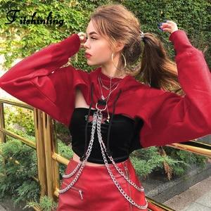 Image 2 - Fitshinling correntes recortadas hoodie outono harajuku streetwear algodão hoodies moletom feminino colheita topo irregular vermelho com capuz 2018