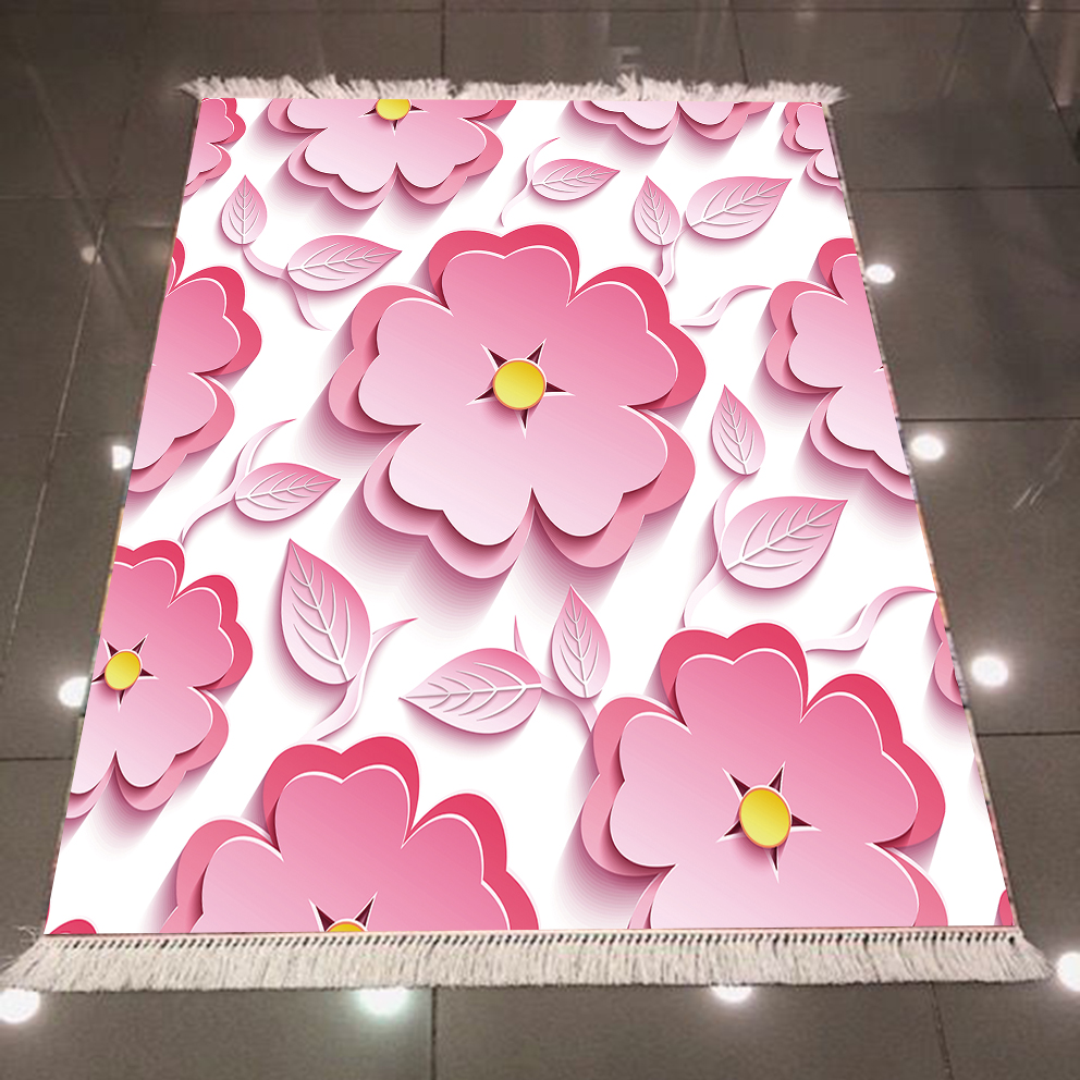 Else White Floor Big Pink Flowers Floral 3d Pattern Microfiber Print Anti Slip Back Washable Decorative Kilim Area Rug Carpet