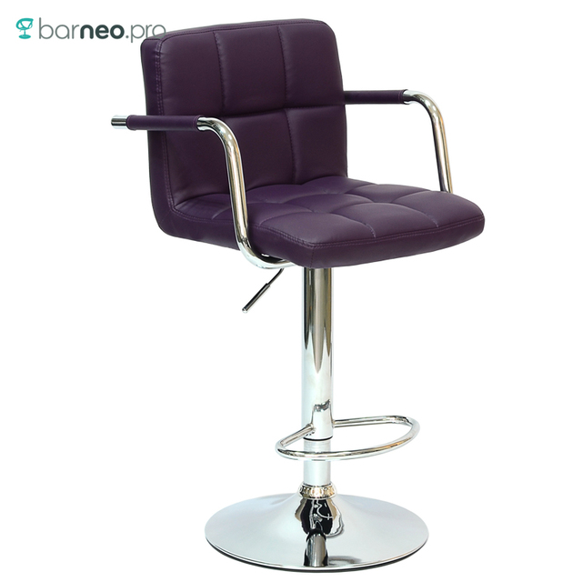 94248 Barneo N 69 Leather Kitchen Breakfast Bar Stool Swivel Chair Purple Color Free