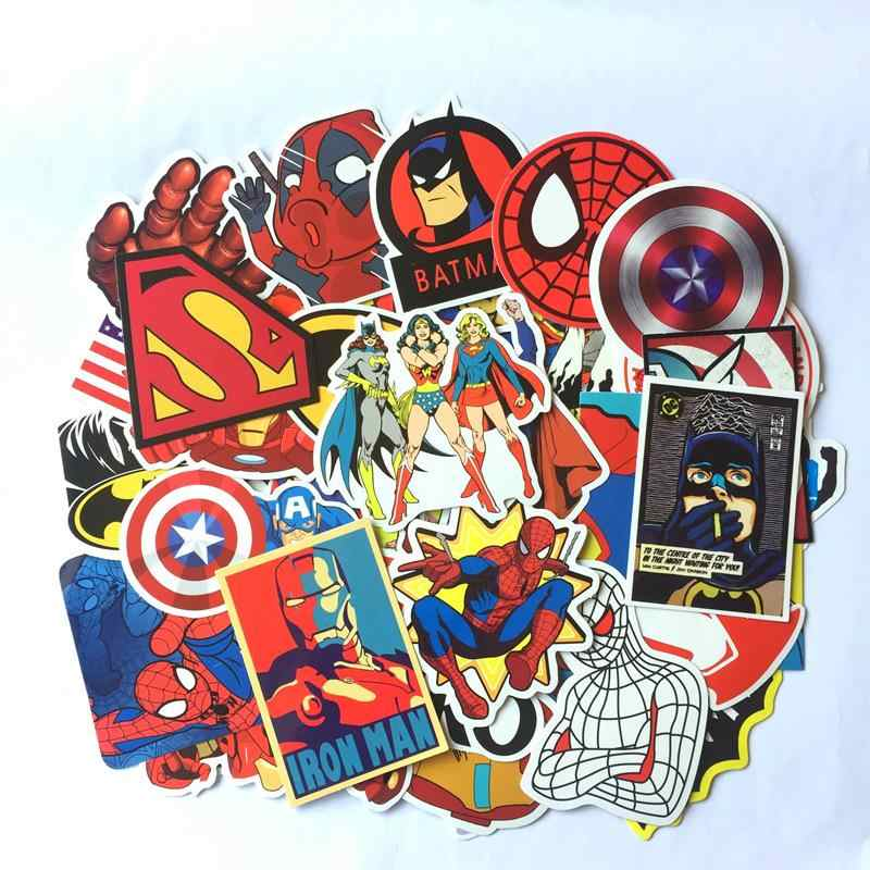 50 Buah/Lot Anime Super Hero Stiker Laptop Stiker Mobil Stiker Kulkas Skateboard PVC Tahan Air Superman Iron Man Stiker Mainan Stiker