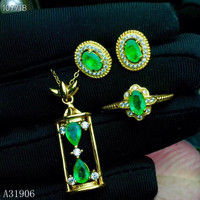 KJJEAXCMY Fine Jewelry 925 sterling silver inlaid natural emerald women's ring necklace pendant earrings 3 sets support detectio