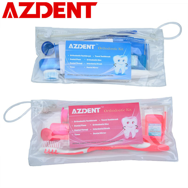 AZDENT (8pcs/kit) Interdental Brush Dental Gum Interdental Tooth Brush Teeth Whitening Kit with Toothbrush Oral Care Toothpick