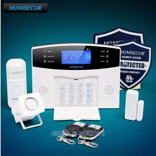 HOMSECUR DIY Wireless&wired LCD 433Mhz GSM 850/900/1800/1900 Home Alarm System + Accessories
