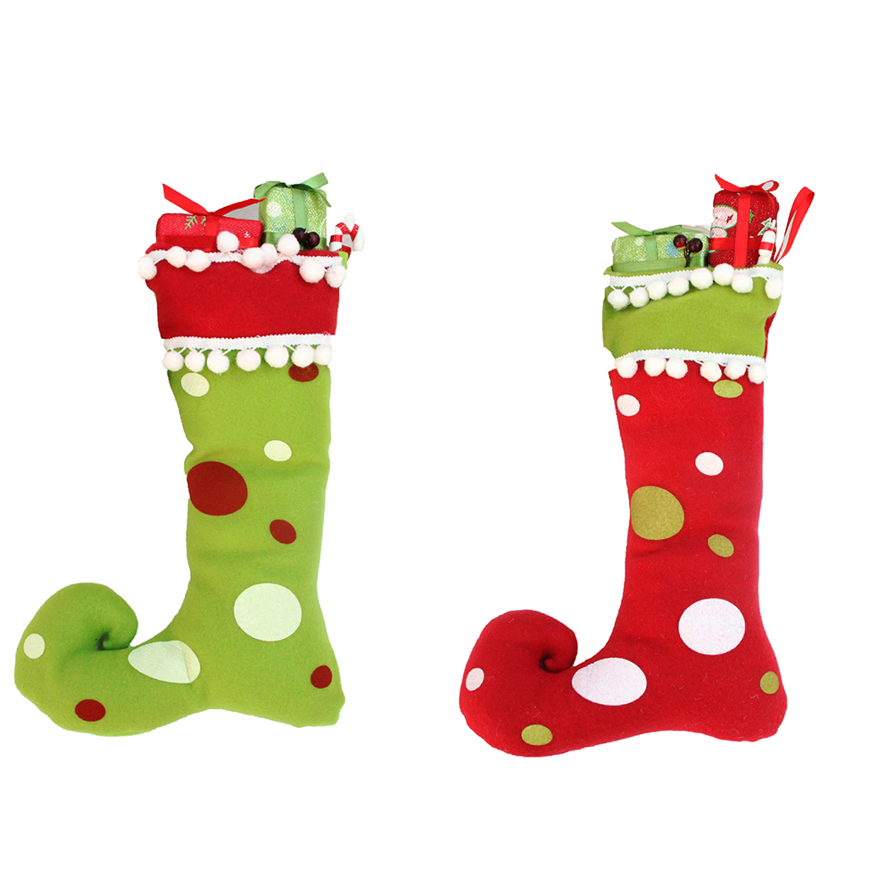 redgreen dot print christmas stockings socks ornament gift boots hanging christmas tree pendant candy - Christmas Stockings