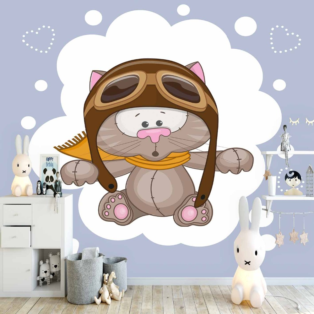 Else Pilot Cute Gray Cat White Hearts Dot Animal 3d Print Cartoon Cleanable Fabric Mural Kids Children Room Background Wallpaper