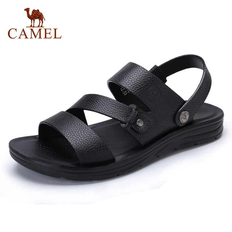 CAMEL Summer Men's Casual Shoes Beach Sandals Comfortable Genuine Leather Shoes Black Cowhide Men Slippers