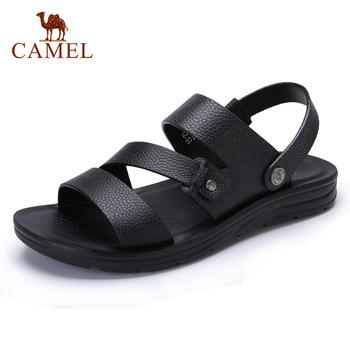 CAMEL letnie męskie buty na co dzień plażowe sandały wygodne buty z prawdziwej skóry czarne kapcie męskie ze skóry wołowej tanie i dobre opinie Dla dorosłych Skóra bydlęca Podstawowe Slip-on W722287032 Stałe Classics Rzym Pasuje większy niż zwykle proszę sprawdzić ten sklep jest dobór informacji
