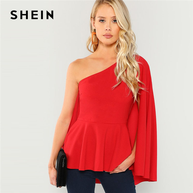 Shein Red Asymmetrical Neck Peplum Top Elegant Party One Shoulder