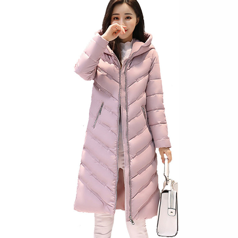 New Casual Winter Warm Hooded Coat Long Sleeve Ladies Basic Coat Jacket Women Parkas Cotton Women