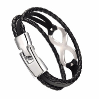 Infinity Charm Bracelet Bangle Braided Faux Leather Rope Friendship Gift Jewelry