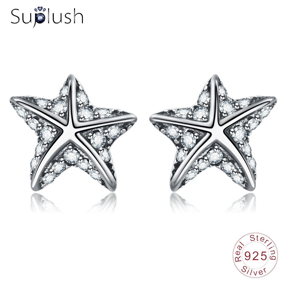Suplush Fashion Women Stud Earrings Vintage 925 Sterling Silver Earrings Wedding Valentines Day Jewelry Accessaries PSER0118-B