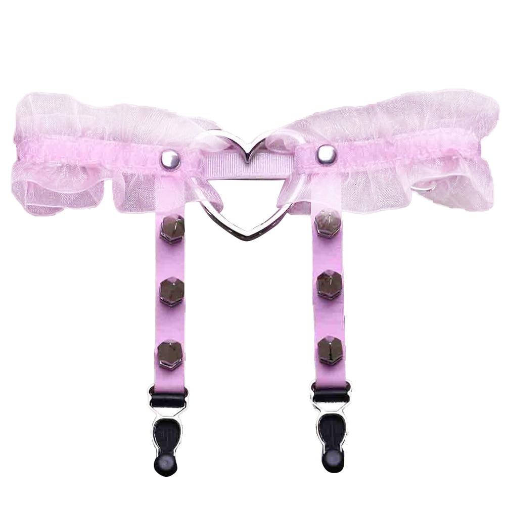 SANWOOD 1 шт. для женщин и девушек в стиле панк и готика кольцо в форме сердца шипы эластичный пояс для чулок - Цвет: Розовый