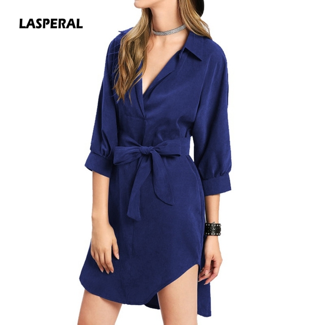 Lasperal Hot New Women Casual Dress Turn Down Collar V Neck Shirt With Belt