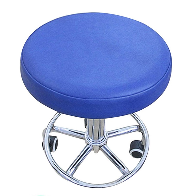 faux leather dining chair covers club fun hanging rope blue stool cover round dental elastic seat slipcover solid color