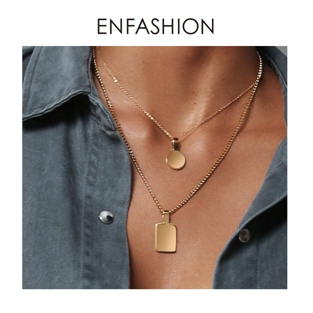 ENFASHION Personalized Engraved Name Necklace Stainless Steel Circle Square Pendant Necklaces For Couples Jewelry Custom PB3010