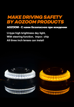 AOZOOM Car Head Light U Type LED Daytime Running Lights with steering function,All 3 inch lenses can install