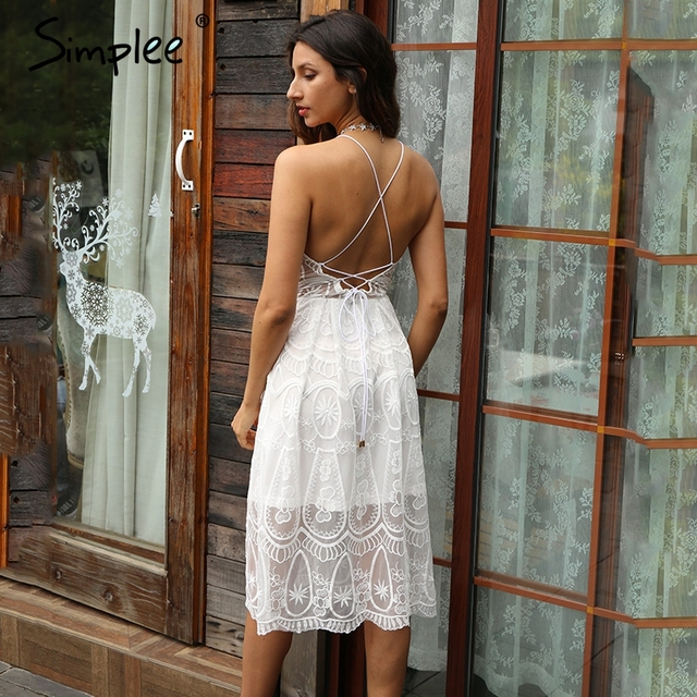 Simplee White lace backless sexy dress Hollow out lace up sleeveless elegant women dress Party summer dress vestidos 2017